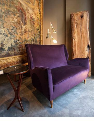 Giò Ponti, Sofa & Coffee Table; Sarfatti, Floor lamp