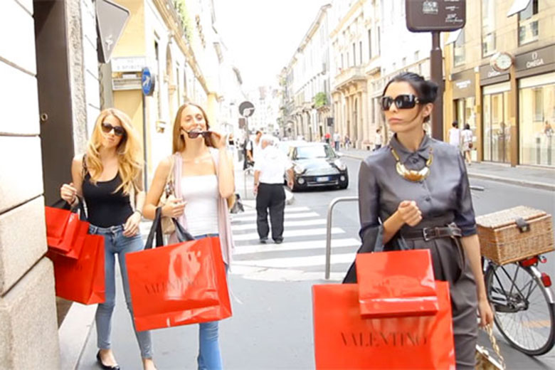Women shopping in the Montenapoleone district
