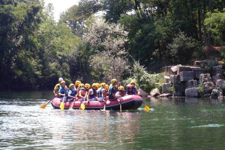 A group doing rafting along the Ticino