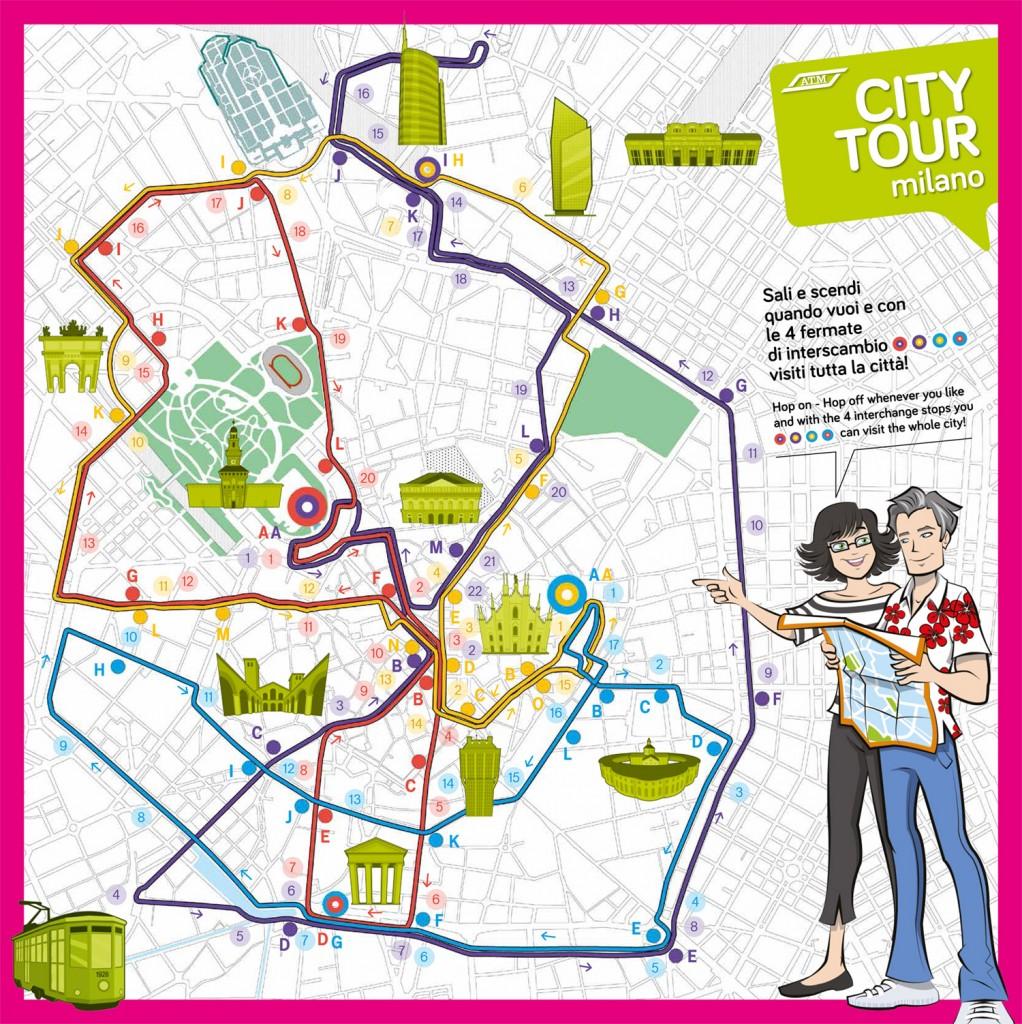 Stadtplan mit eingezeichneten Routen quer durch Milano - bereitgestellt von https://www.wheremilan.com