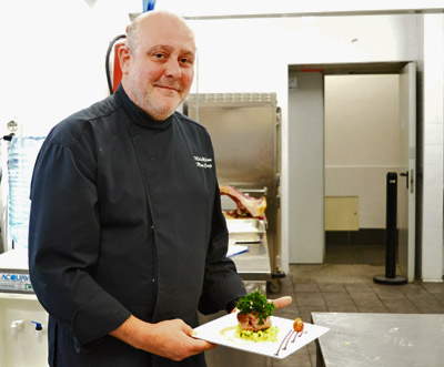 Executive Chef Mario Crespi with one of his creations