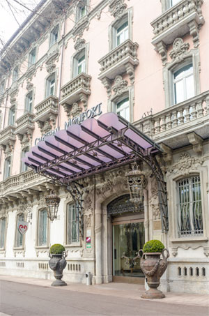 The Liberty-style building that hosts Château Monfort  Hotel in Milan
