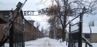 The entrance of Auschwitz