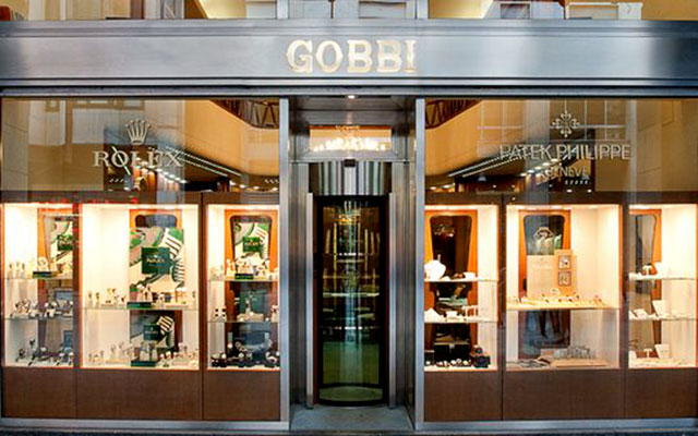 Façade of the Gobbi boutique, Rolex retailer in Milan