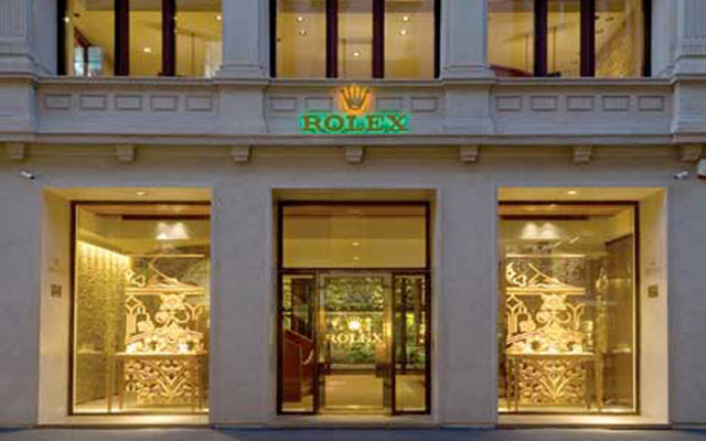 Façade of the Pisa boutique, Rolex retailer in Milan