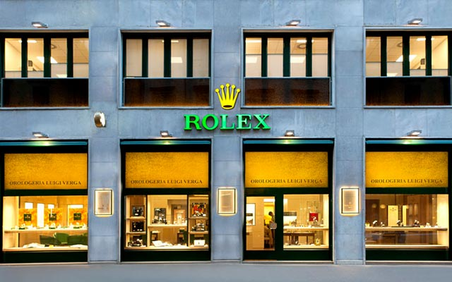 Façade of the Verga boutique, Rolex retailer in Milan near the Duomo