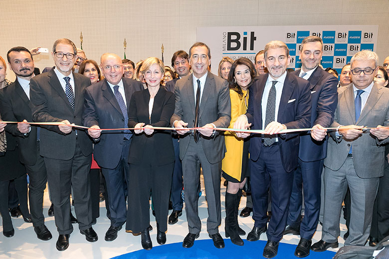 The mayor of Milan, Beppe Sala, inaugurating the 2018 edition of Bit