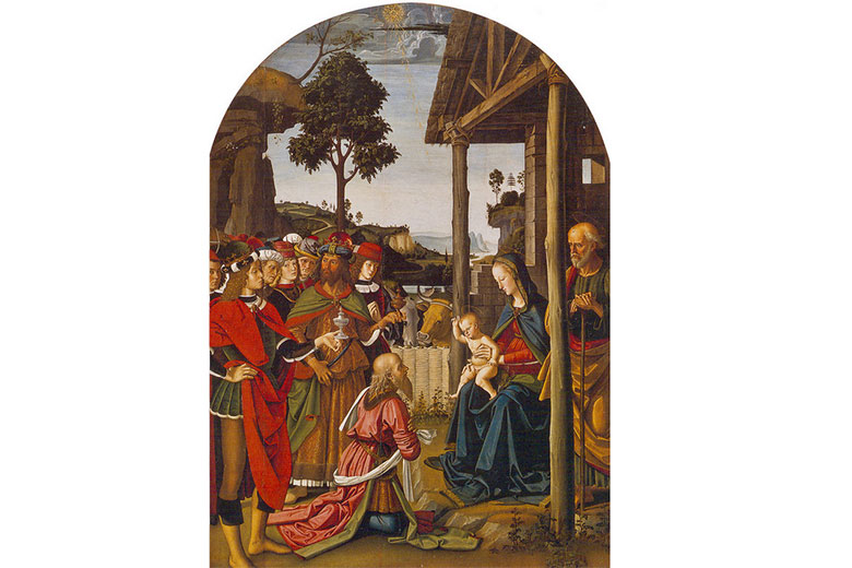 The Adoration of the Three Wise Men by Perugino, on display at Palazzo Marino
