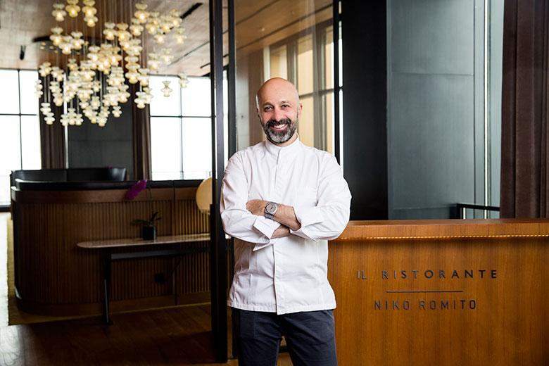 Chef Niko Romito at the Il Ristorante Niko Romito c/o Bulgari Hotel Milano
