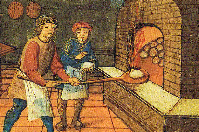 A period drawing depicting Ughetto degli Atellani baking panettone for his beloved Adalgisa