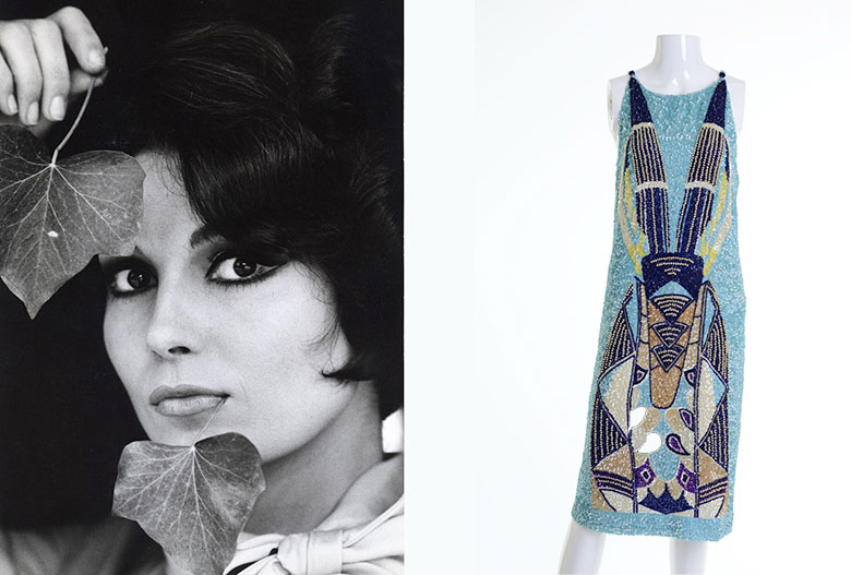 On the left: Rosanna Schiaffino photo credits (c) Pietro Pascuttini. On the right: an evening gown by Germana Marucelli from 1967/68