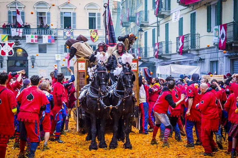 The battle of the oranges during the Carnival in Ivrea