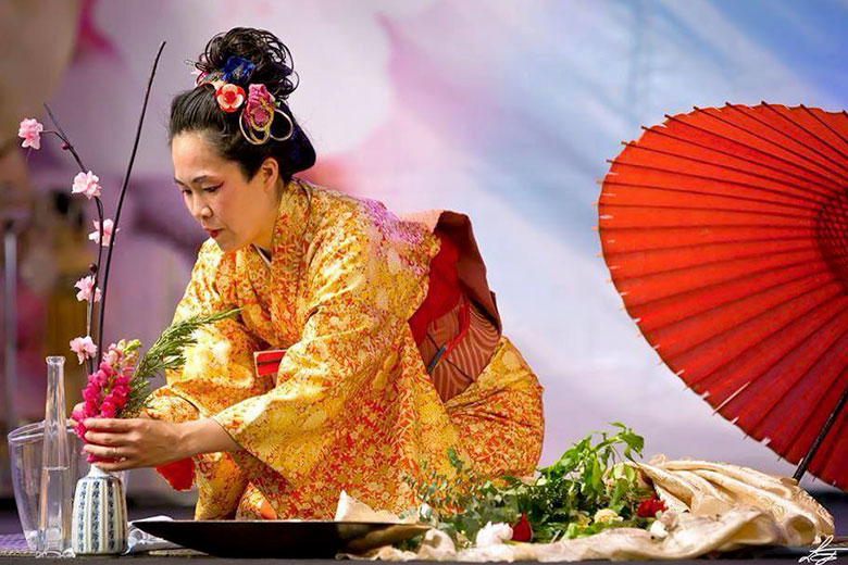 A Japanese woman in her traditional clothes at the Orient Festival