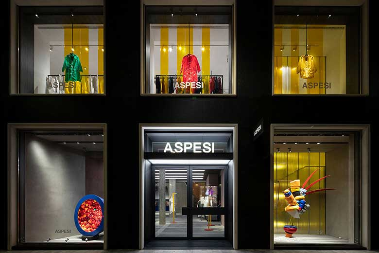 The facade of the new Aspesi Flagship Store