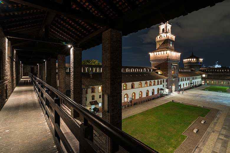 A panoramic view of the Sforza Castle, photo credits (c) Milano Panoramica