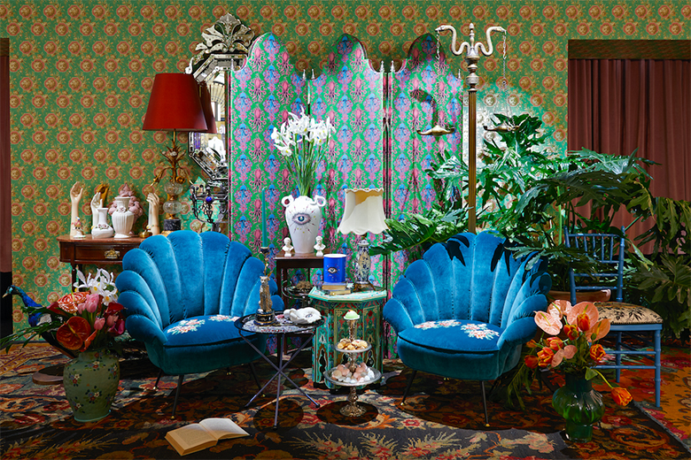 The spaces of the Gucci Décor temporary store