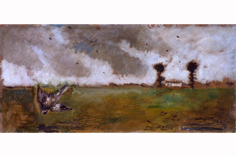 De Pisis Filippo, Paesaggio con passero e casolare
