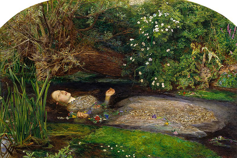 John Everett Millais, Ophelia. ate: Presented by Sir Henry Tate 1894 – ©Tate, London 2019