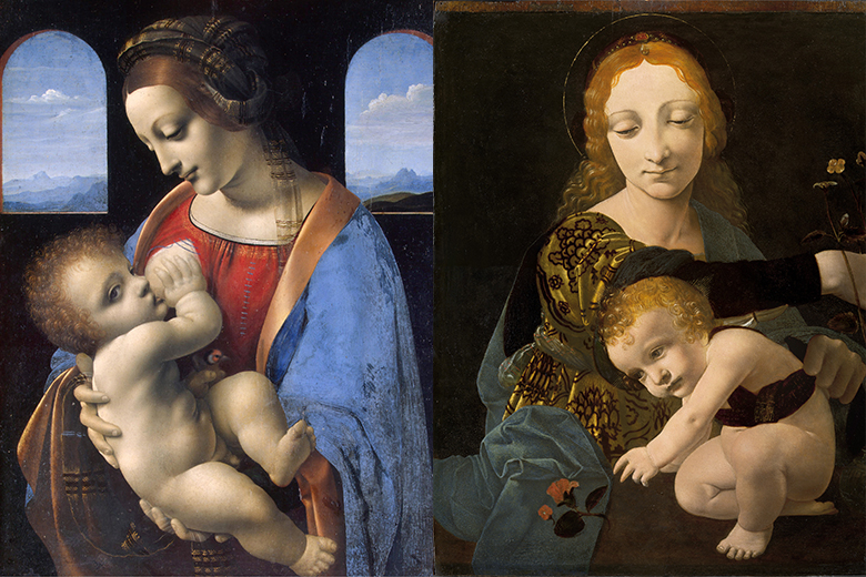 On the left, Leonardo da Vinci's Madonna Litta, © Museo Statale Ermitage, San Pietroburgo, 2019. On the right Giovanni Antonio Boltraffio Madonna con il Bambino, © Milano, Museo Poldi Pezzoli