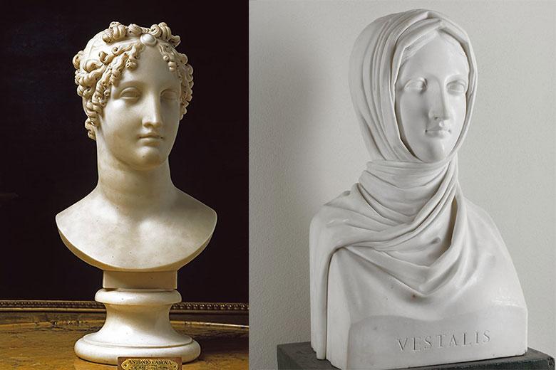 Left: Calliope Pitti, 1812, Antonio Canova, Galleria d'Arte moderna di Palazzo Pitti. Right: Vestale 1818-1919, Antonio Canova, Galleria d'Arte moderna, Milano. (c) Comune di Milano