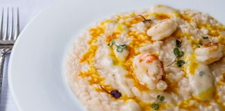 Risotto with saffron gel, gorgonzola cheese and flambe prawns by All'Origine, photo credits Simona Bruno Ph