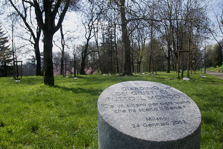 A 'cippo' at the Giardino dei Giusti di Tutto il Mondo