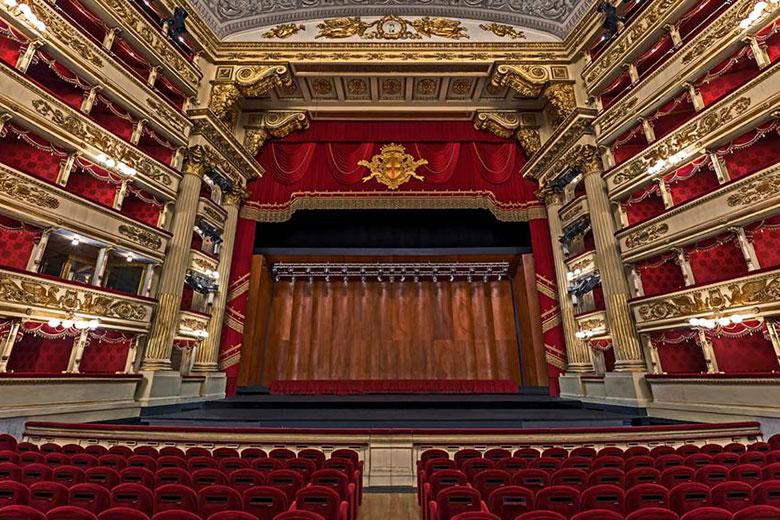 The interior to Teatro alla Scala
