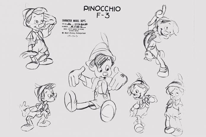 Sketches of Pinocchio (c) Disney studios