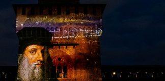 Leonardo da Vinci at Luci e Suoni nel cortile delle Armi light installation (c) Comune di Milano