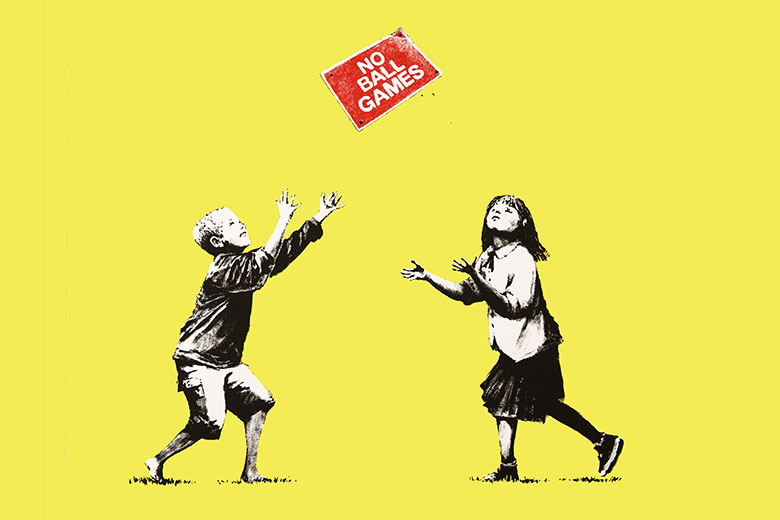 Banksy, No ball no games. Limited edition serigraphy on paper.
