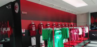 Official AC Milan merchandising at Casa Milan