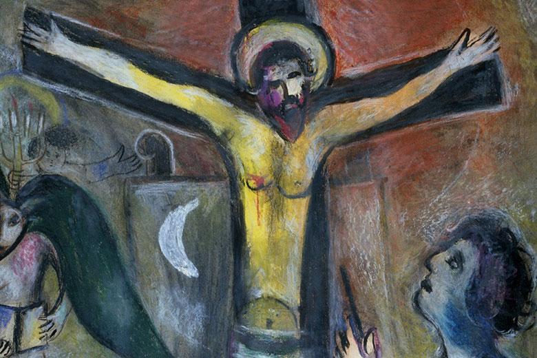Marc Chagall, Le Christ et le peintre (L'artiste et son Modèle), 1951 (c) Musei Vaticani