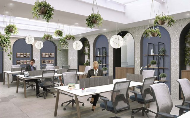 A rendering of the coworking spaces at Wellio