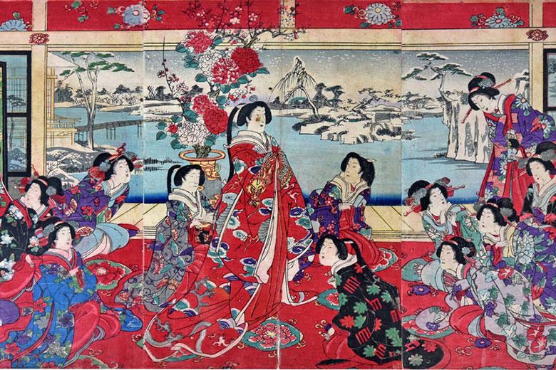 Yoshu Chinkanobu, Passatempi di beltà femminili in un giorno nevoso, polychrome xilographies by Yoshu Chikanobu (1838-1912)