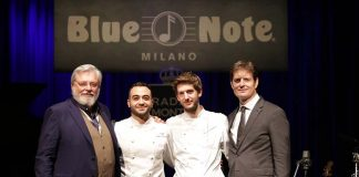 Left to right: Andrea De Micheli (President and CEO at Blue Note Milano), Chef FedericoTronci (Blue Note Milano) and Chef Filippo Cavalera (Don Lisander), Stefano Marazzato (CEO at Don Lisander)