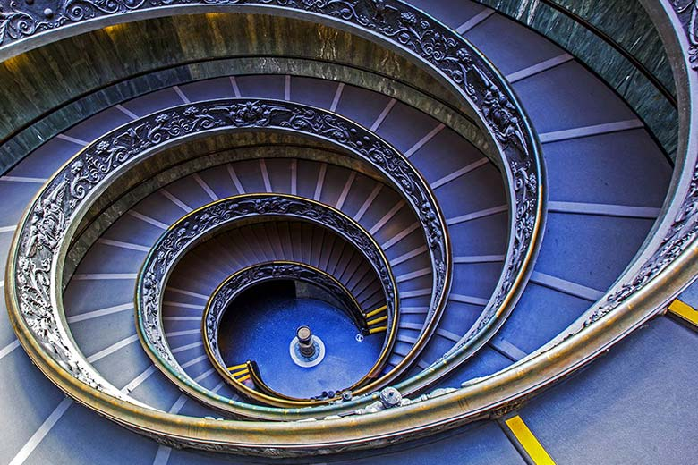 The staircase of the Vatican Museums in Rome