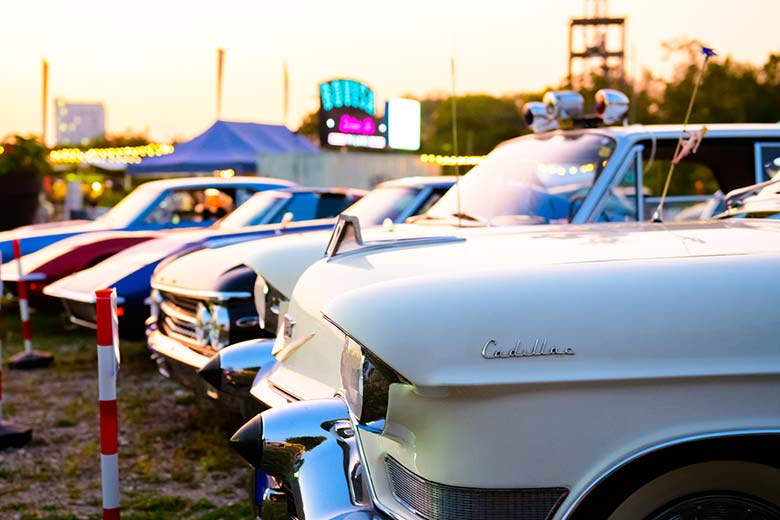 Vintage cars at a drive-in cinema