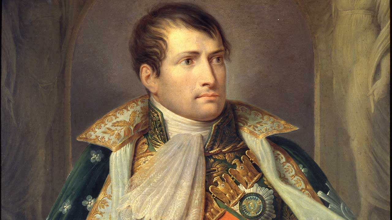 A detail of the painting Ritratto di Napoleone I Imperatore by Giuseppe Diotti (1810), oil on canvas
