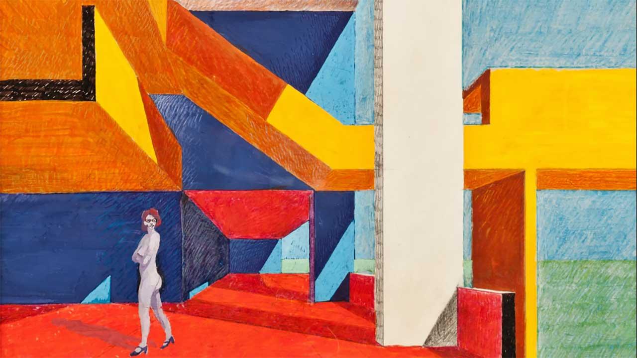 """A detail of """"Gallaratese con Luciana"""", by Carlo Aymonino. 1974"""
