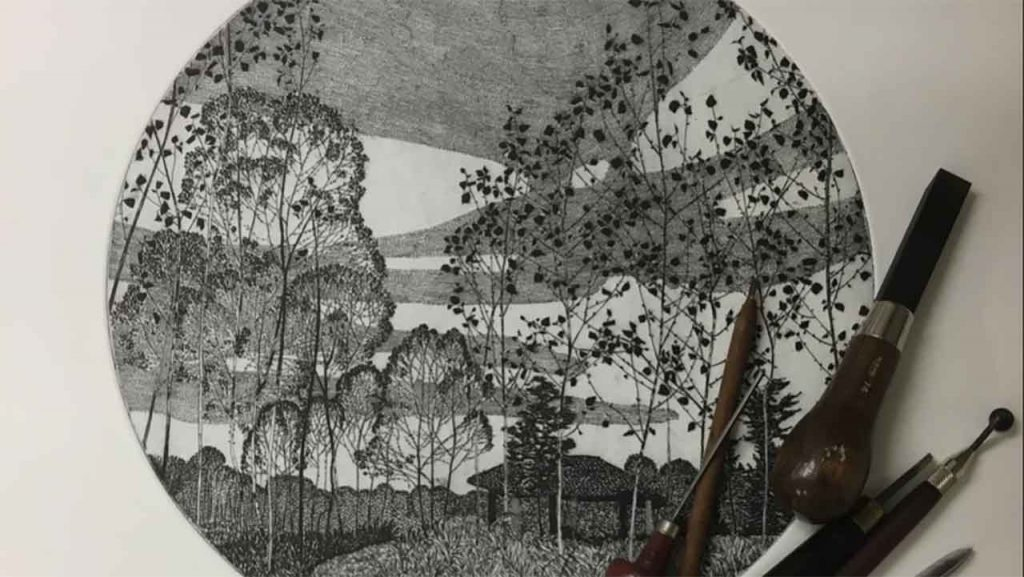 The detail of a etching by Federica Galli