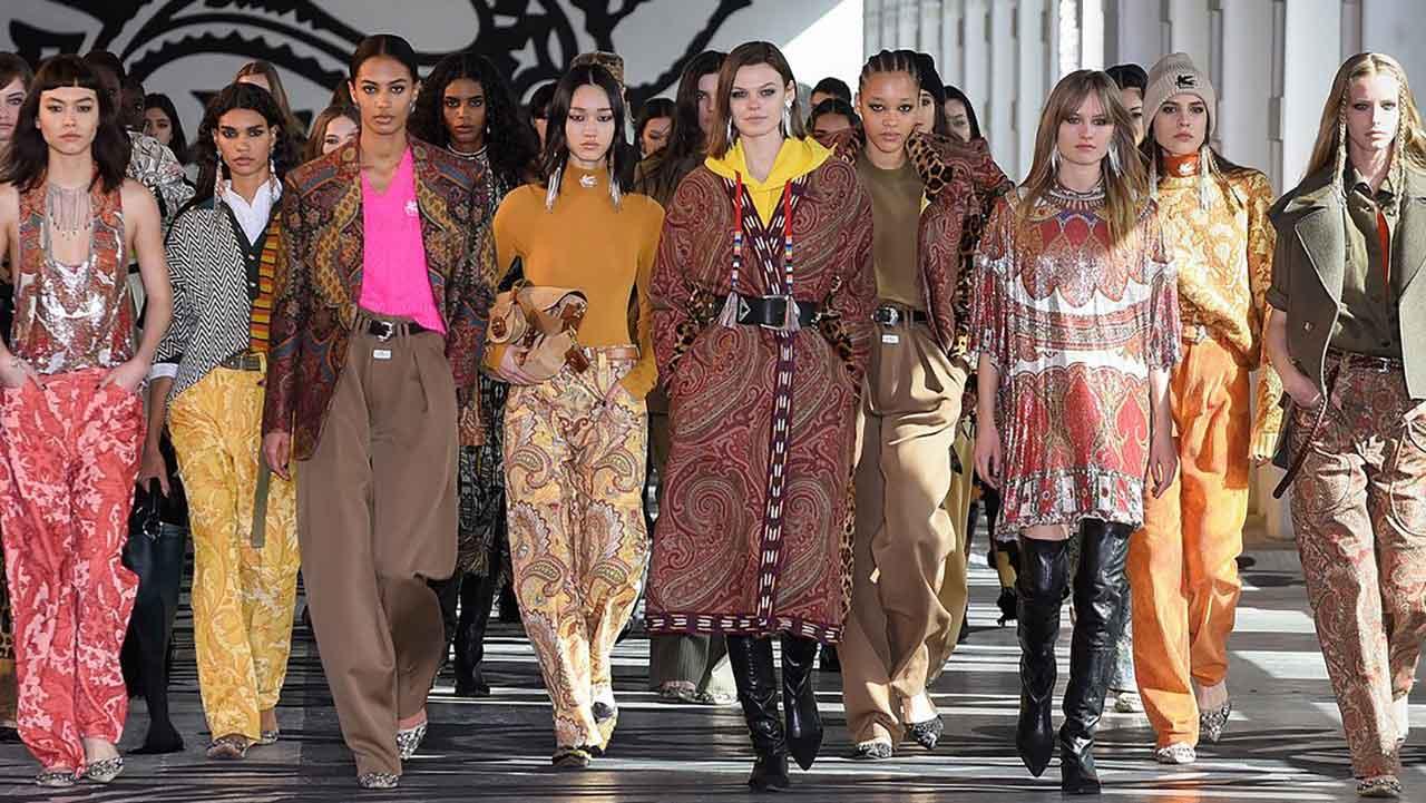 The Etro catwalk during Milano Fashion Week Women's F/W 2021