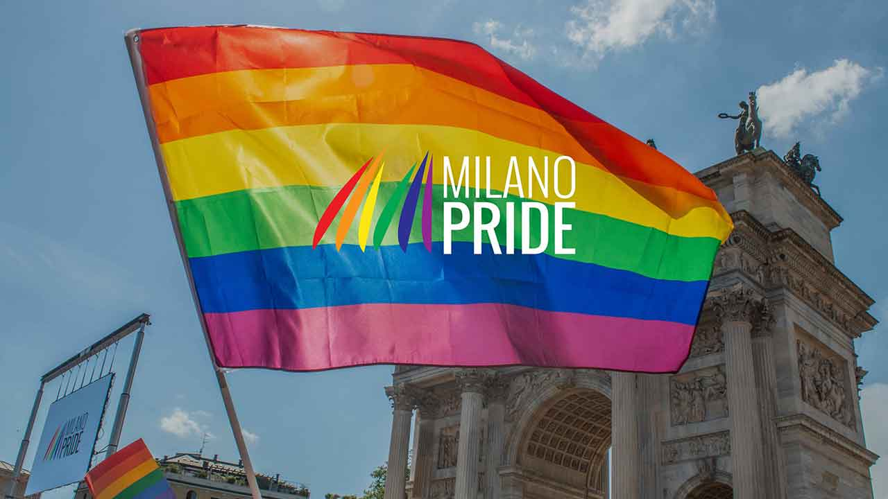 A shot from the 2021 edition of Milano Pride at Milan's Arco della Pace